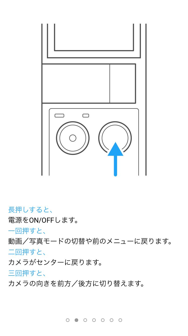 右側の電源ボタンの説明が表示されます